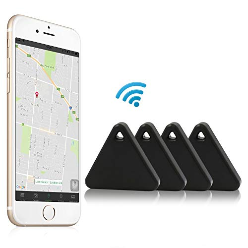 Tracker, Effeltch Smart Key Phone Wallet Finder Locator GPS Tracker Anti Lost Alarm with Selfie Shutter for iOS, Android Smartphone (Triangle Black 4)