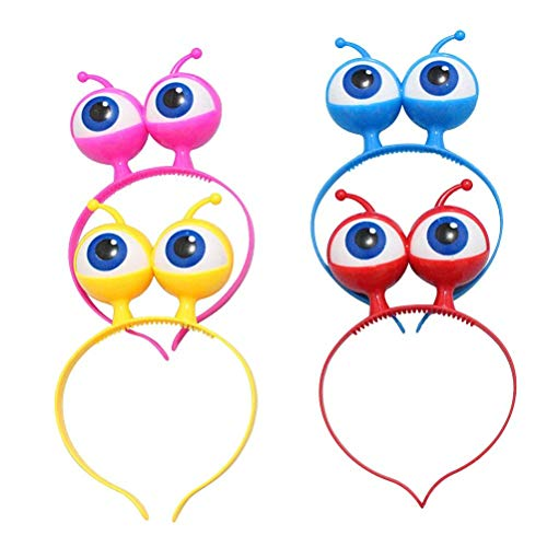 Polymer 4pcs Halloween Headband Flash Eyeball Hoop Party Ball Headgear Hair Clasp with Big Eyes LED Headband (Red Blue Yellow Pink) -