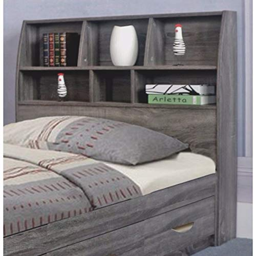 Benzara Contemporary Style Gray Finish Twin Size Bookcase Six Shelves Headboard, from Benzara