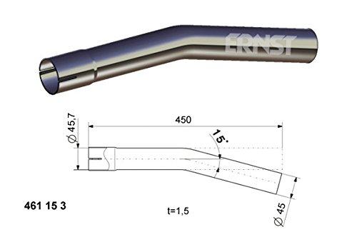 Coude Tuyau d/échappement universel 15 / /° / /Longueur 450 /mm unilat/éralement aufgeweitet /à/˜ 38 /42 /45 /50 /55 /60 /65 /mm