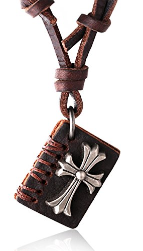 TER Men's Genuine Leather Cord Bible Book Pendant with Size Adjustable Russian Knot Necklace Set FREE Giftbox ()