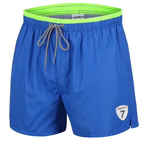 LANYI Mens Swim Trunks Quick Dry Surfing Swimming Shorts Swimwear Mesh Lining Bathing Suits with Pockets (Dark Blue, XXL)]()