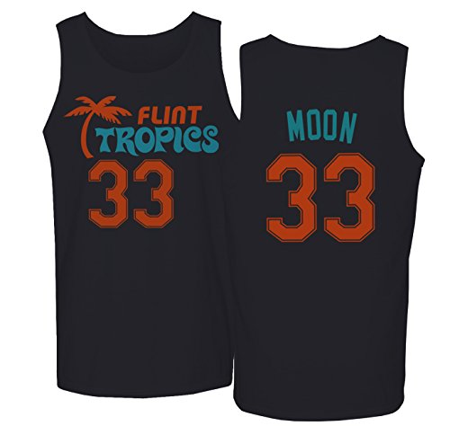 Flint Tropics Jackie Moon 33 Semi Pro Basketball Men's Tank Top (Black,M) -