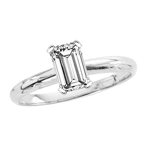 7/8 ct. H - VS2 Emerald Cut Diamond Solitaire Engagement Ring in 14k White Gold (Size-7.5)