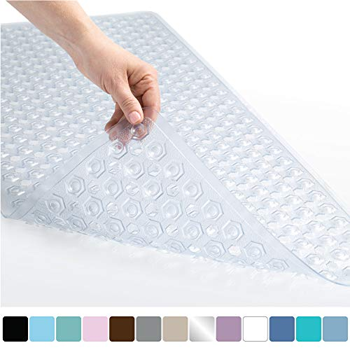 Gorilla Grip Original Patented Bath, Shower, Tub Mat, 35x16, Machine Washable, Antibacterial, BPA, Latex, Phthalate Free, Bathtub Mats with Drain Holes, Suction Cups, XL Size Bathroom Mats, Clear (Best Bath Mats For Elderly)
