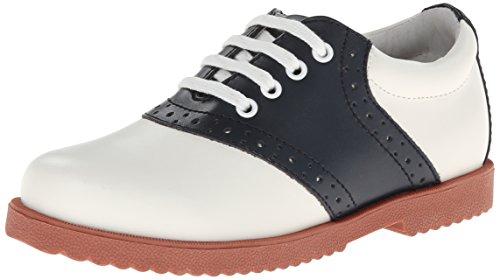 Academie Gear Honor Roll Saddle Shoe (Toddler/Little Kid/Big Kid),White/Navy,2.5 M US Little Kid