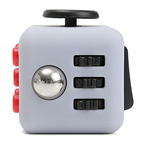 Fidget Cube Gray Anxiety Stress Relief Focus Gift Adults Kids Attention Therapy # 01 (Eskimo Auger Bag)