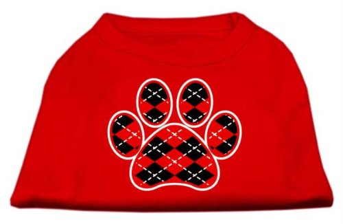Mirage Pet Products Argyle Paw Red Screen Print Shirt Red XXXL (20) from Mirage Pet Products