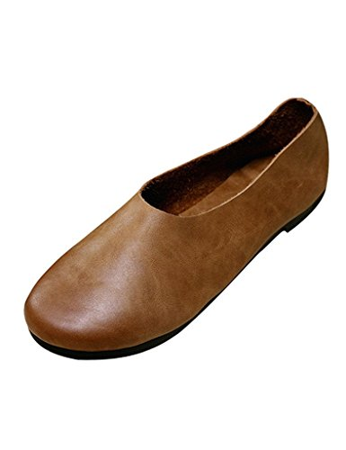 Youlee Women's Rubber Sole Handmade Leather Shoes Brown w6Yzr