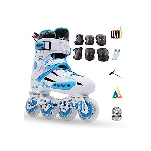 読むもちろん姪ailj インラインスケート、スケート、大人の子供、男性と女性、ローラースケートのセット、プロフェッショナルコンビネーション、多機能スケート(3色) (色 : 青, サイズ さいず : EU 36/US 4.5/UK 3.5/JP 23cm)