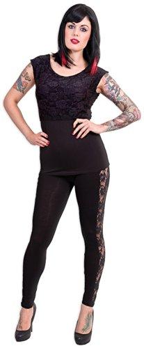 Spiral Haut dentelé à encolure large pour femme Motif Gothic Elegance Noir