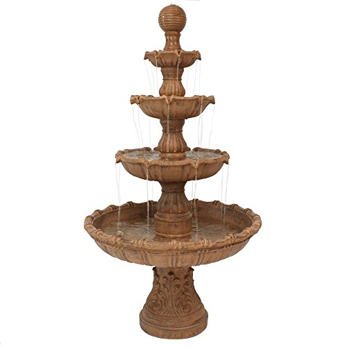 Ball Outdoor Fountain - Sunnydaze Large Tiered Outdoor Water Fountain with Ball Top, 80 Inch Tall