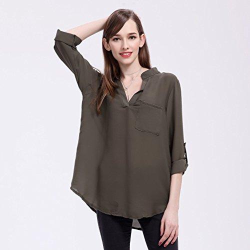 Blusas de Vestir Manga Larga Cuello en V Blusa Gasa Fiesta Camisas Mujer Camisetas Largas Elegantes Dama Bonitas Blusas Top para Señoras Blusones Anchas Camiseta Casual Suelto Grande Ejercito Verde