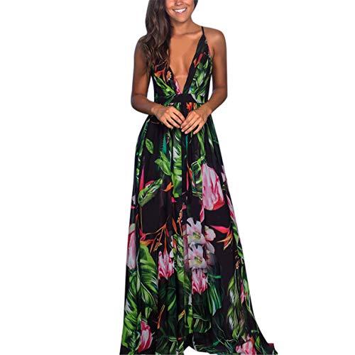 New in Respctful✿ Women Summer Loose Maxi Party Dress Sexy Deep V-Neck Backless Split Long Dress Hawaiian Spaghetti Strap ()