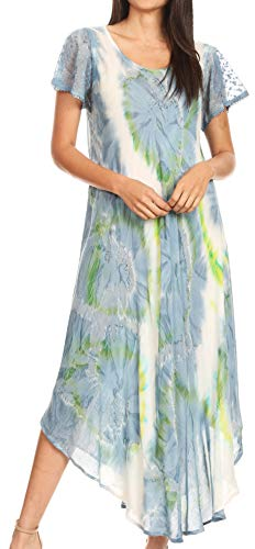 Sakkas 16800 - Sayli Long Tie Dye Cap Sleeve Embroidered Wide Neck Caftan Dress/Cover Up - Grey/White - OS ()