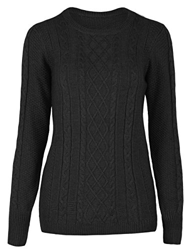 Crew Ribbed Sweater (Rocorose Women's Knitted Sweater Long Sleeve Crew Neck Pullover Black L)