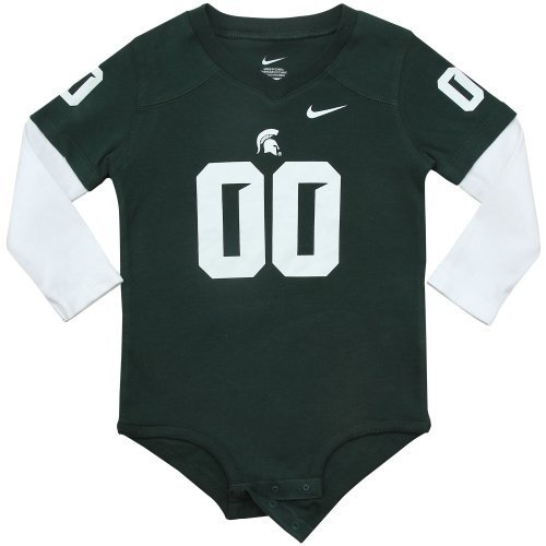 Nike Michigan State Spartans Infant Football Jersey Long Sleeve Creeper - Green/White 6/9 months State Nike Football Jersey