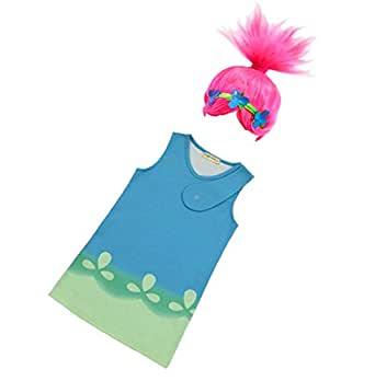 Trolls Poppy Cosplay Costumes Halloween Clothes Kids Fancy Dress+Hair wig (7-8 years(Tag size 150))