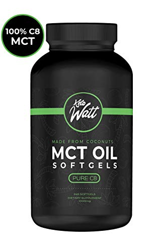 Pure C8 MCT Oil Capsules - 240 MCT Oil Softgels to Reach Ketosis on a Ketogenic Diet - A Keto Supplement Made from Pure Coconut Oil with No Capric Acid