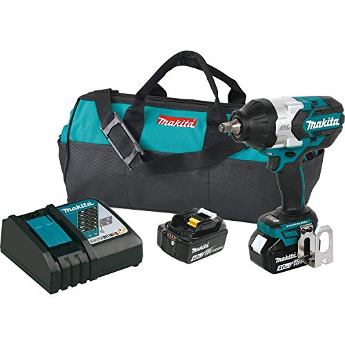 Makita XWT08M  LXT Lithium-Ion Brushless Cordless High Torque Square Drive Impact Wrench with Friction Ring Anvil Kit, 18V/1/2