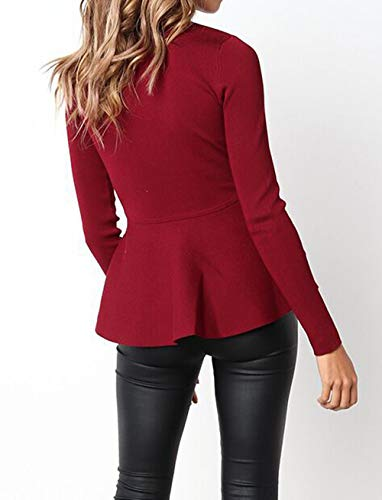 Con Cime Giacche Jacket Coat Sottile Lunga Blazer Moda Zip Donne Corto Vino Rosso Tops Giacca Manica Cappotto Outerwear 7qZnPZxwBd