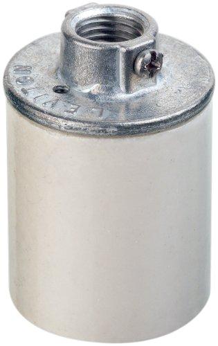 Leviton 10046 Medium Base, One-Piece, Keyless, Incandescent, Glazed Porcelain Lampholder, Pipe Mount, Single Circuit, White