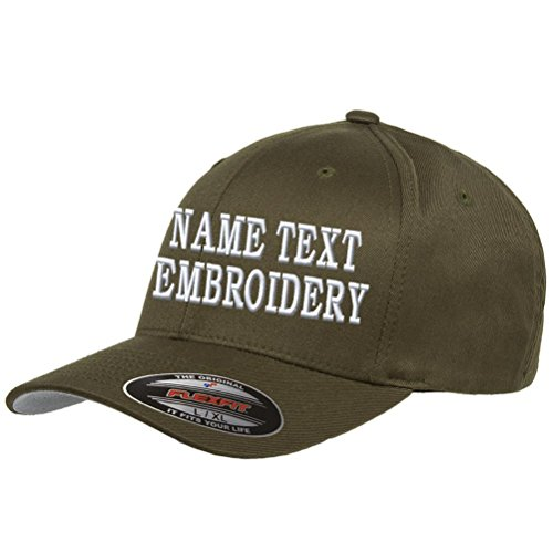 Custom Embroidery Hat Personalized Flexfit 6277 Text Embroidered Baseball Cap - Army Green