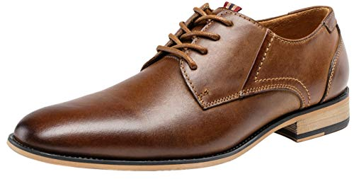 Pictures of JOUSEN Men's Oxford Retro Leather Formal Classic Oxford Dress Shoes 1