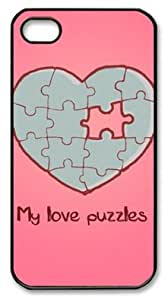 My Love Puzzles Shocklock Iphone 4/4S Black Sides Hard Shell Case