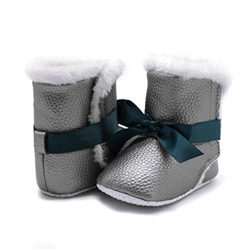 SYY Niedlich 0-2 Jahre alt Baby-Mädchen-weicher Bowknot-Beefstiefel-Schnee lädt Säuglingskleinkind-Erwärmungs-Krippen-Schuhe auf Grau