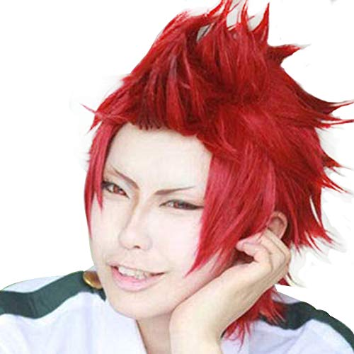 Anogol Hair Cap+Short Red Anime Cosplay Wig Synthetic Hair Wavy Wigs Fancy Dress Costume Party]()