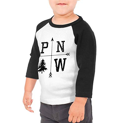 Pacific North West Unisex 100% Cotton Children's 3/4 Sleeves T-Shirt Top Tees 2T~5/6T 3T Black ()