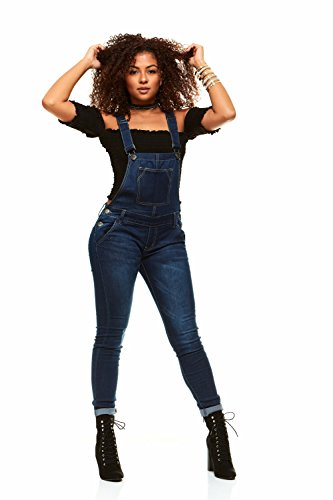 V.I.P.JEANS Casual Blue Jean Bib Strap Pocket Overalls for Women Ankle Length Slim Fit Junior Size 15 Dark Blue Wash ()