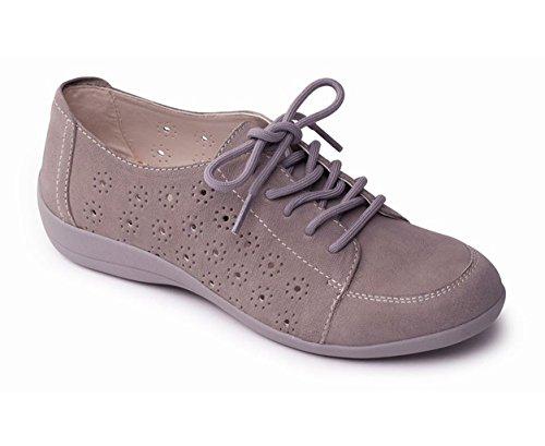 Zapatos Talón Gris De Grande Cuerno Libre Ligeros Anchura Con Mujeres Del Cordones Las 25mm Zapato 'darcy' Padders Extra Cuero Ee 8qn1Z1g