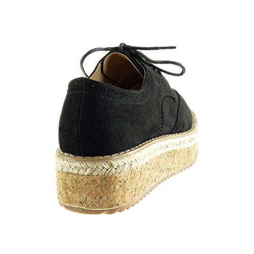 Angkorly - Zapatillas de Moda zapato derby alpargatas low mujer perforado acabado costura pespunte Talón Plataforma 5 CM - Negro