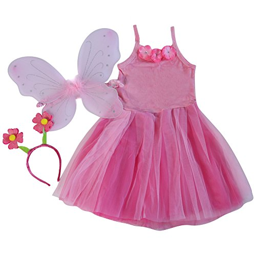 Pink Flower Fairy Set - Dress, Wings, Headband