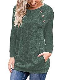 Women's Raglan Long Sleeve Tunic Shirt with Pockets Casual Top Blouse