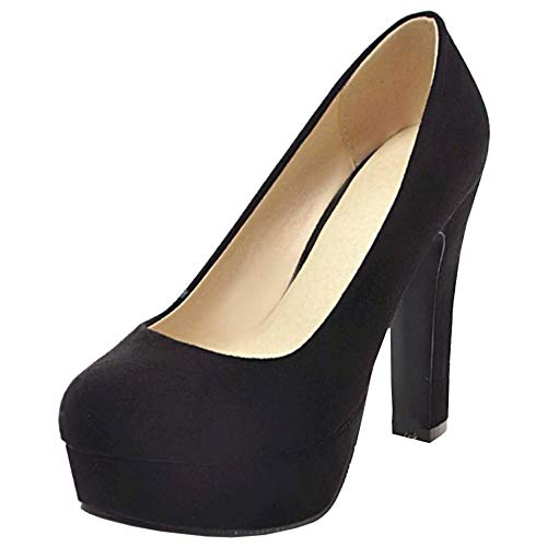 TAOFFEN Toe Fashion Pumps Women Black Heel High Round XvXxHp