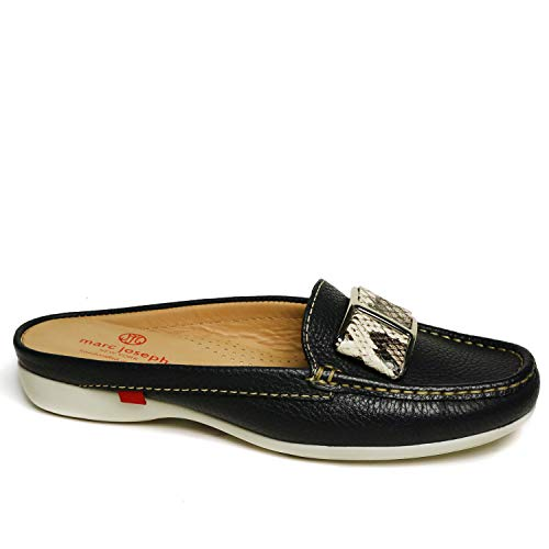 MARC JOSEPH NEW YORK Women's Leather Made in Brazil Luxury Mule Slide with Buckle Detail