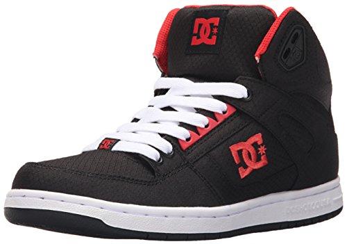 DC Women's Rebound High TX Skate Shoe, Black/Poppy Red, 5 M US