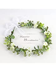 Flower Crown, Flower Wreath Adjustable Artificial Floral Crown with Ribbon, Bridal Headpiece Greenery Crown for Wedding Ceremony Festival Party