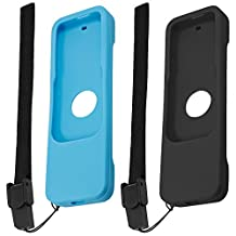 Protective Case for Apple TV 4th Generation Siri Remote Controls, FineGood 2 Pack Silicone Skidproof Cover of Protection for TV 4 Remote - Black, Blue