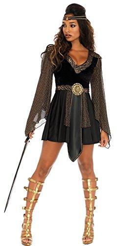 Glamazon Costume (Leg Avenue Women's Plus Size 2 Pc Glamazon Warrior Costume, Black, 3X-4X)