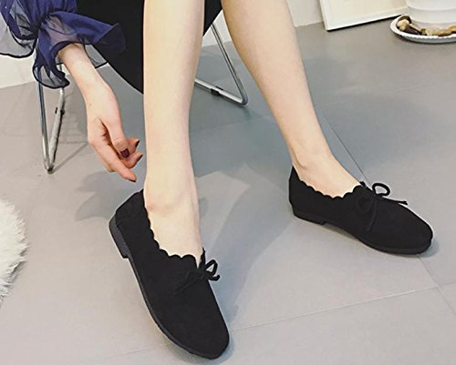 2017 verano nueva zapatos planos redondo retro cabeza salvaje arco zapatos casuales Black