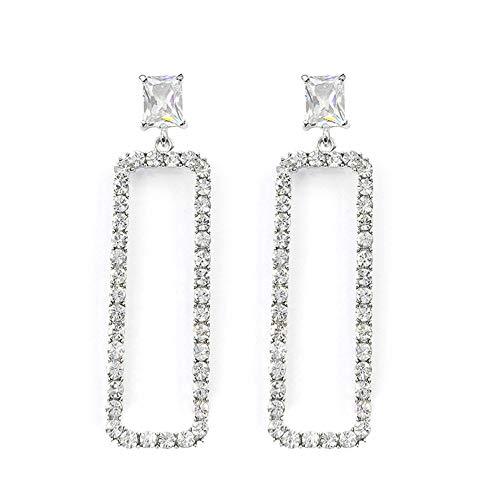 lEIsr00y Retro Women Hollow Rectangular Long Dangle Earrings Rhinestone Jewelry Gift - Silver