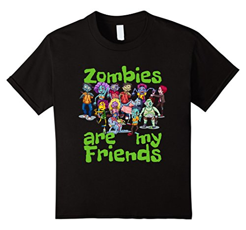 Zombie Clothing (Kids Zombies Are My Friends Halloween T-Shirt 8 Black)