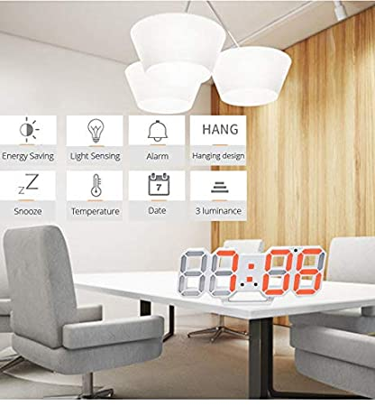 Amazon.com: Wall Clock 3D LED Modern Design Digital Table Clock Alarm Nightlight Saat reloj de pared Watch for Home Living Room Decoration: Home & Kitchen