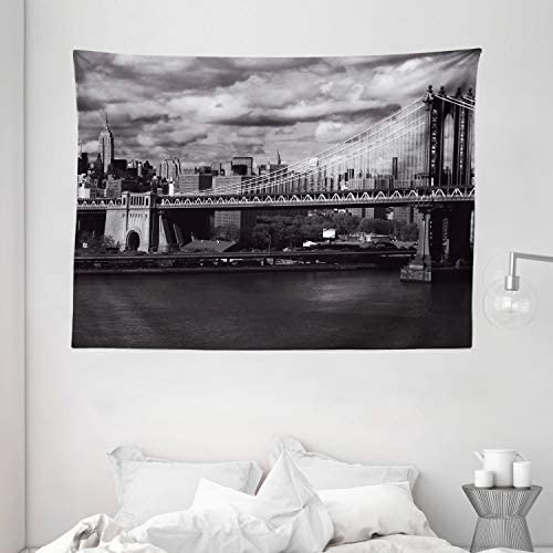 Ambesonne New York Tapestry, Black and White Panorama of New York City Skyline with Focus on Manhattan Bridge Photo, Wide Wall Hanging for Bedroom Living Room Dorm, 80 X 60 , Grey Monochrome