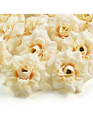Zacoo Silk Roses Artificial Silk Flower Heads 50pcs. Silk Ivory Cream 50mm