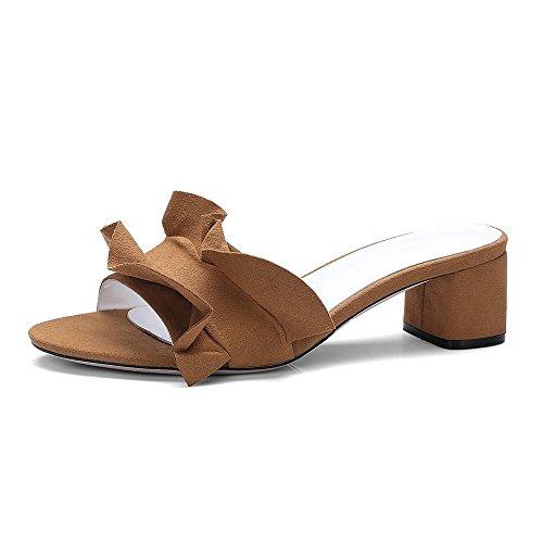 GJDE Mujer Chicas Sandalias Elegantes De Tacón Alto Peep Toe Zapatos Verano de talón Grueso Informal Camel